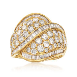 C. 1980 Vintage 3.50 ct. t.w. Round and Baguette Diamond Crossover Ring in 18kt Gold, , default