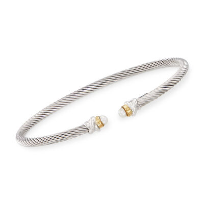 "Phillip Gavriel ""Italian Cable"" 3.2mm Cultured Pearl Sterling Silver Cuff Bracelet with 18kt Gold, , default"