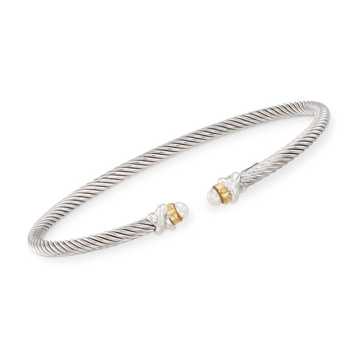 """Phillip Gavriel """"Italian Cable"""" 3.2mm Cultured Pearl Sterling Silver Cuff Bracelet with 18kt Gold. 7"""", , default"""