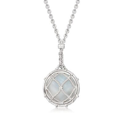 """Judith Ripka """"Isola"""" Mother-Of-Pearl Pendulum Necklace in Sterling Silver"""