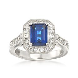 C. 2000 Vintage 1.85 Carat Sapphire and .85 ct. t.w. Diamond Ring in 14kt White Gold, , default