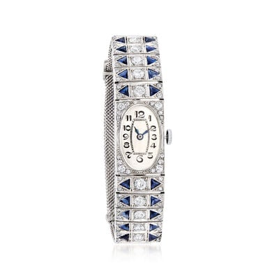 C. 1940 Vintage 4.60 ct. t.w. Simulated Sapphire and 2.55 ct. t.w. Diamond Watch in Platinum