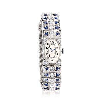 C. 1940 Vintage 4.60 ct. t.w. Simulated Sapphire and 2.55 ct. t.w. Diamond Watch in Platinum, , default