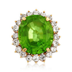 C. 1970 Vintage 16.50 Carat Peridot and 2.20 ct. t.w. Diamond Ring in 18kt Yellow Gold, , default