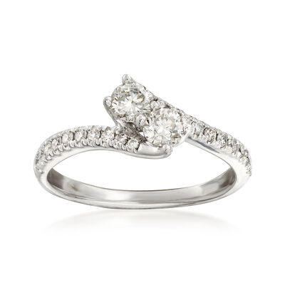 C. 1990 Vintage .90 ct. t.w. Diamond Bypass Ring in 14kt White Gold, , default