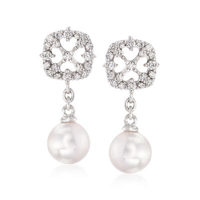 "Mikimoto ""Cherish"" 7mm A+ Akoya Pearl Drop Earrings With .45 ct. t.w. Diamonds in 18kt White Gold, , default"