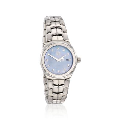 TAG Heuer Link Women's 32mm .12 ct. t.w. Diamond Watch in Stainless Steel with Blue Mother-Of-Pearl Dial
