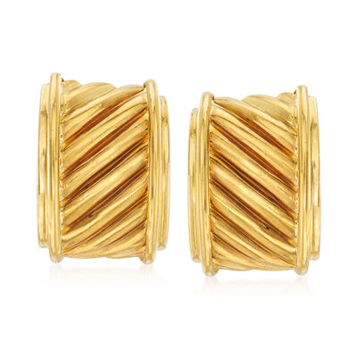 C. 1980 Vintage David Yurman 18kt Yellow Gold Diagonal Ridged Earrings, , default
