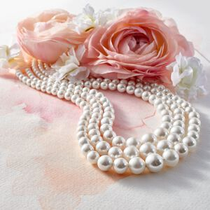 6-12mm Shell Pearl Graduated Three-Strand Necklace in Sterling Silver #884015