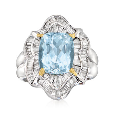 C. 1980 Vintage 6.85 Carat Swiss Blue Topaz and 1.35 ct. t.w. Diamond Cocktail Ring in 18kt White Gold