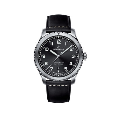 Breitling Navitimer 8 Automatic 41mm Men's Stainless Steel Watch - Black Leather Strap, , default