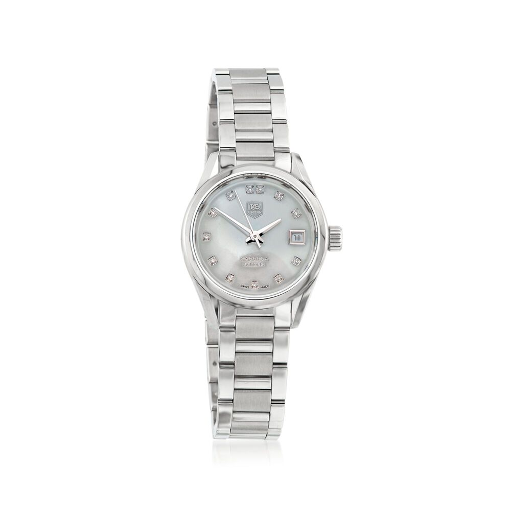 2c56879be5461 TAG Heuer Carrera 28mm Women s Stainless Steel Automatic Watch with Diamond  Accent