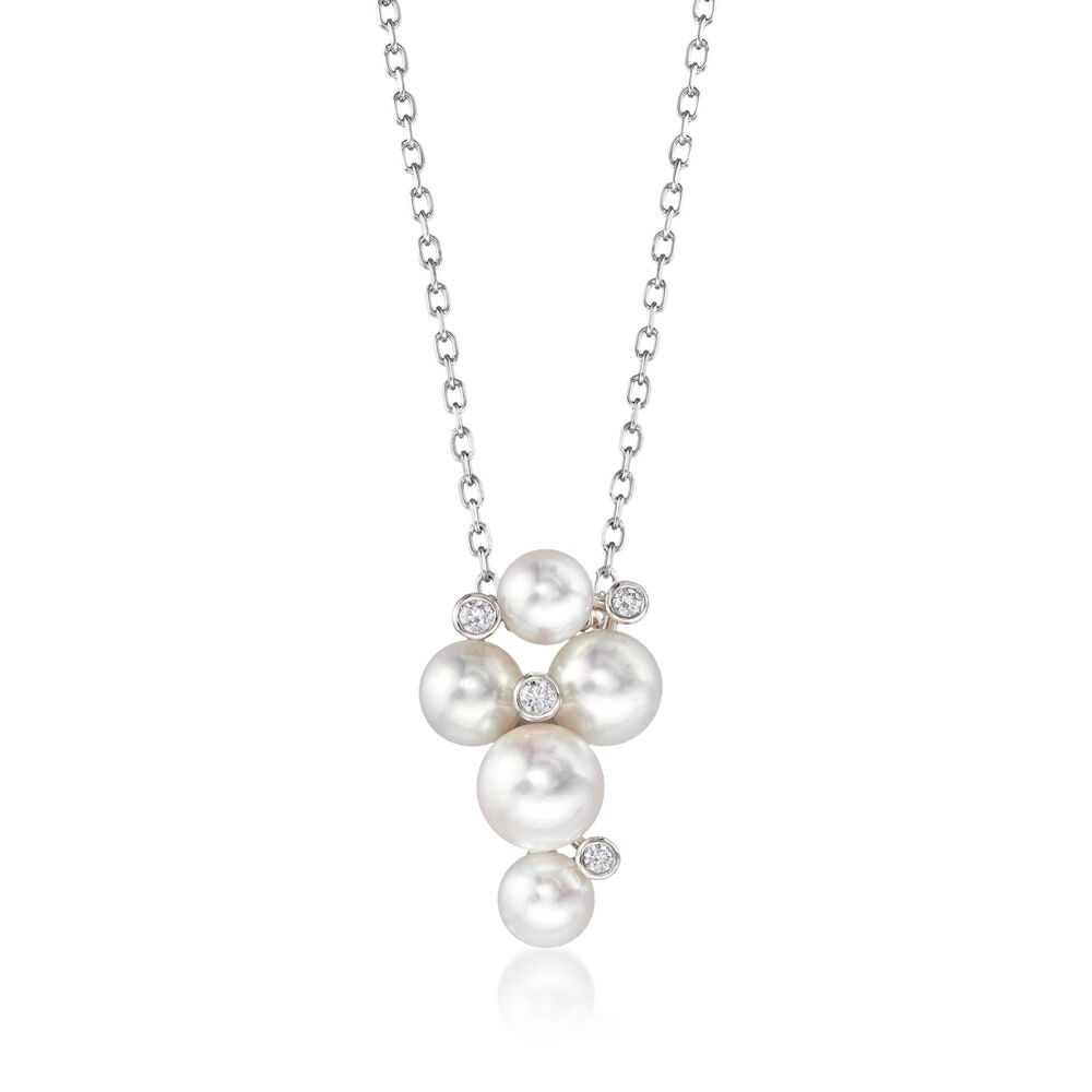 7fc447894ad9 Mikimoto Bubbles 4.7-6.2mm A+ Akoya Pearl Necklace with Diamond Accents in  18-