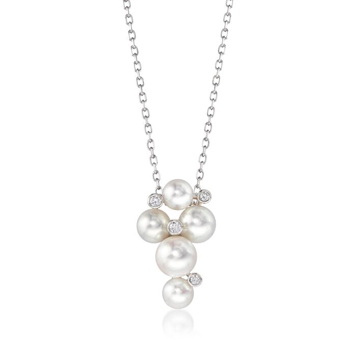 "Mikimoto Bubbles 4.7-6.2mm A+ Akoya Pearl Necklace with Diamond Accents in 18-Karat White Gold. 18"", , default"