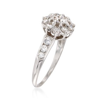 C. 1980 Vintage 1.60 ct. t.w. Diamond Floral Ring in 14kt White Gold and Platinum. Size 7.5