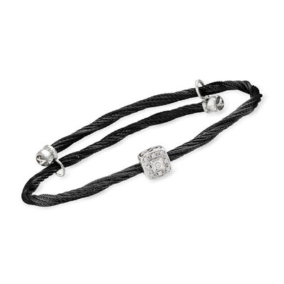 "ALOR ""Noir"" Black Stainless Steel Adjustable Cable Bracelet with Diamond-Accented Station in 18kt White Gold"