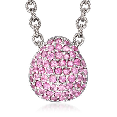 C. 2000 Vintage 3.00 ct. t.w. Pink Sapphire Necklace in 18kt White Gold, , default