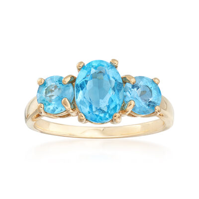 C. 1980 Vintage 2.50 ct. t.w. Blue Topaz Ring in 14kt Yellow Gold, , default