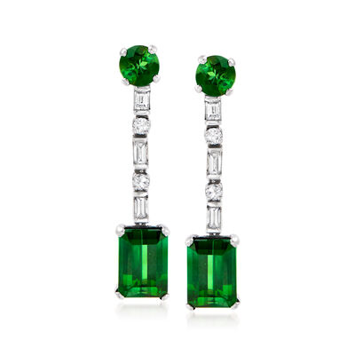 C. 1960 Vintage 5.40 ct. t.w. Green Tourmaline and .60 ct. t.w. Diamond Drop Earrings in Platinum