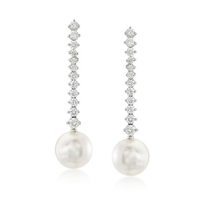 "Mikimoto ""Classic"" 2.00 ct. t.w. Diamond and 12mm A+ South Sea Pearl Drop Earrings in 18kt White Gold, , default"