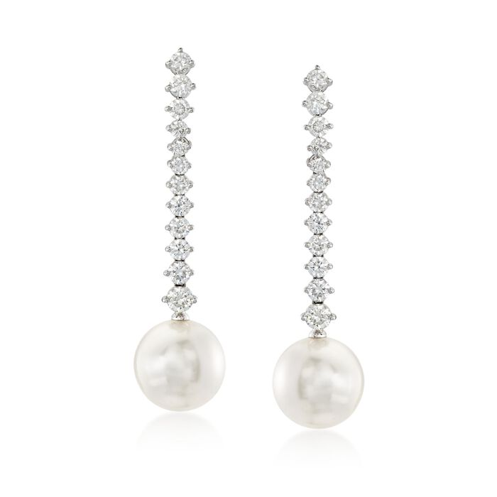 Mikimoto Classic 12mm A+ South Sea Pearl and 2.00 Carat Total Weight Diamond Drops in 18-Karat White Gold, , default