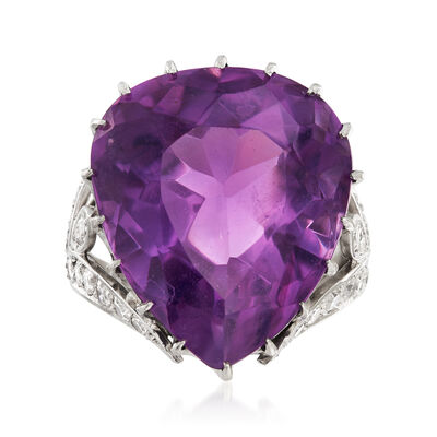 C. 1970 Vintage 20.40 Carat Amethyst and .80 ct. t.w. Diamond Ring in Platinum, , default