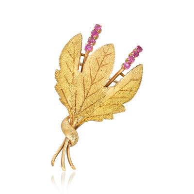 C. 1970 Vintage .65 ct. t.w. Ruby Leaf Pin in 18kt Yellow Gold, , default