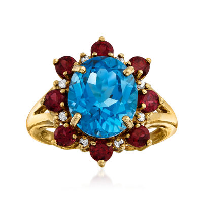 C. 1980 Vintage 5.00 Carat Blue Topaz and 1.20 ct. t.w. Rhodolite Garnet Ring with Diamond Accents in 14kt Yellow Gold, , default