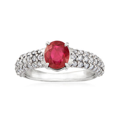 C. 2000 Vintage 1.53 Carat Burmese Ruby and .70 ct. t.w. Diamond Ring in Platinum