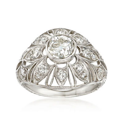 C. 1950 Vintage 1.15 ct. t.w. Diamond Filigree Ring in Platinum, , default
