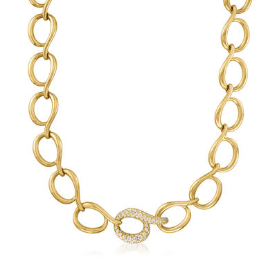 C. 1988 Vintage Tiffany Jewelry 1.40 ct. t.w. Diamond and 18kt Yellow Gold Link Necklace
