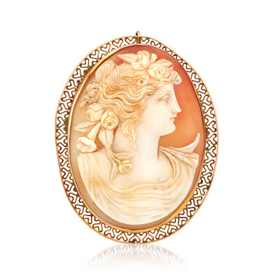 C. 1950 Vintage Pink Shell Cameo Hair Pin/Pendant in 14kt Yellow Gold, , default