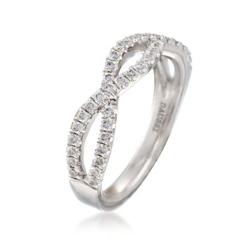 Henri Daussi .35 ct. t.w. Diamond Twisted Wedding Ring in 14kt White Gold