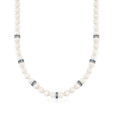 Mikimoto 7-7.5mm A1 Akoya Pearl and Sapphire Necklace with 18kt White Gold, , default