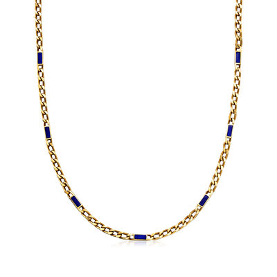 C. 1990 Vintage 14kt Yellow Gold Curb-Link Necklace with Blue Enamel