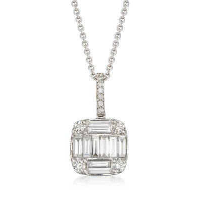 .97 ct. t.w. Round and Baguette Diamond Square-Shaped Pendant Necklace in 18kt White Gold, , default