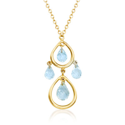 C. 1990 Vintage Tiffany Jewelry 2.80 ct. t.w. Aquamarine Teardrop Necklace in 18kt Yellow Gold, , default