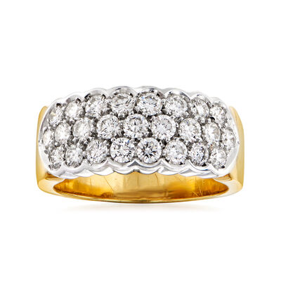 C. 1990 Vintage 1.25 ct. t.w. Diamond Three-Row Ring in 18kt Two-Tone Gold