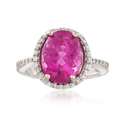 C. 1980 Vintage 5.20 ct. t.w. Pink Tourmaline and .30 ct. t.w. Diamond Ring in 14kt White Gold, , default