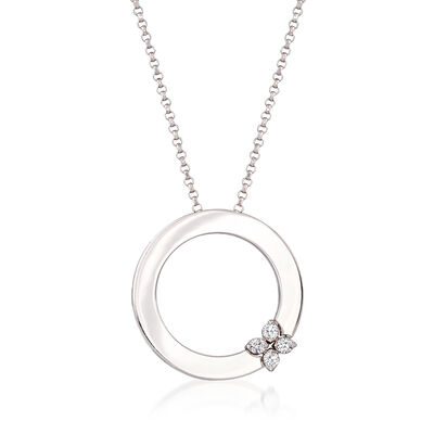 "Roberto Coin ""Love in Verona"" 18kt White Gold Open Circle Necklace with Diamond Accents"