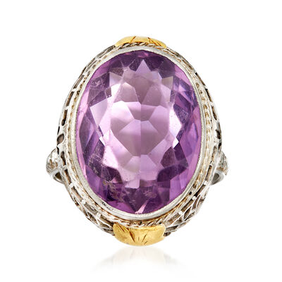 C. 1950 Vintage 12.00 Carat Amethyst Oval Ring in 18kt White Gold, , default