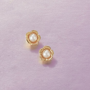 Child's 2-2.5mm Cultured Pearl Flower Studs in 14-Karat Yellow Gold, , default