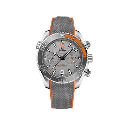 Omega Seamaster Planet Ocean Men's 46mm Titanium Watch with Gray and Orange Rubber Strap