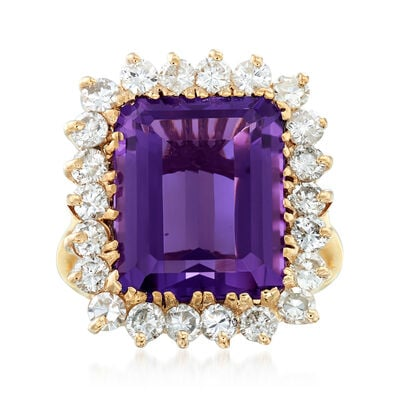 C. 1970 Vintage 4.85 Carat Amethyst and 1.00 ct. t.w. Diamond Ring in 14kt Yellow Gold, , default
