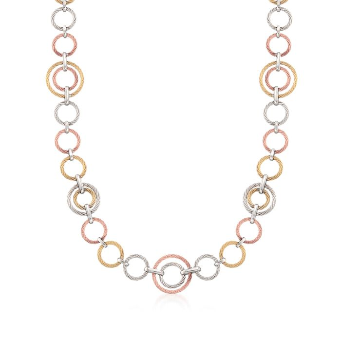 "ALOR Noir Tri-Tone Cable Link Necklace in Stainless Steel with 18-Karat Yellow Gold. 36"", , default"