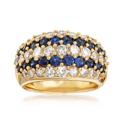 C. 1980 Vintage 1.47 ct. t.w. Sapphire and 1.73 ct. t.w. Diamond Multi-Row Ring in 18kt Yellow Gold, , default