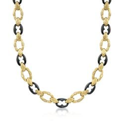 C. 1990 Vintage Black Onyx and 14kt Yellow Gold Link Necklace, , default