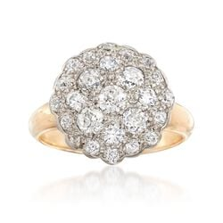 C. 1920 Vintage 1.10 ct. t.w. Diamond Cluster Ring in 14kt Two-Tone Gold, , default
