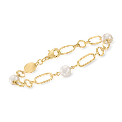 Mikimoto 6.5mm A+ Akoya Pearl Link Bracelet in 18kt Yellow Gold