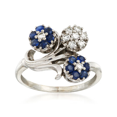 C. 1970 Vintage .65 ct. t.w. Sapphire and .35 ct. t.w. Diamond Flower Ring in 18kt White Gold, , default